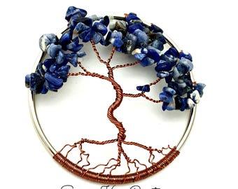 Sodalite Gemstone Tree of Life/  Window or Wall Ornament/  Gift Idea for Her/ Housewarming Gift/ September Birthstone/ September Birthday