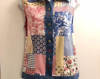 Vintage Women's Embroidered Sleeveless Denim Top Size Large