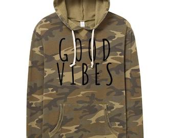hoodie- camo- good vibes - green -mens-mens hoodie - typography - word hoodie -text hoodie - fleece - guys