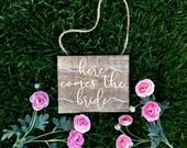 Here Comes The Bride Sign Rustic Wood Stained Wedding Sign Wood Square Flower Girl Sign Ring Bearer Sign Shabby Chic Woodland Wedding