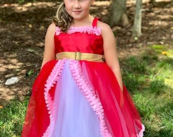 Elena Dress: tutu dress, Birthday Princess Party, twirly, Princess Dinner, Halloween costume, meet & greet, red pink and gold, avalor
