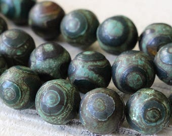 Tibetan Dzi Beads - Etched Agate 10mm  - Rustic Round Tibetan Agate Beads - Jewelry Making - Agate Mala Beads - Choose Amount