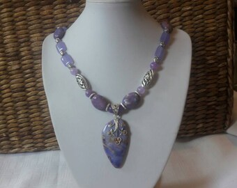 Beautiful natural stone handmade necklace with  shades of purple