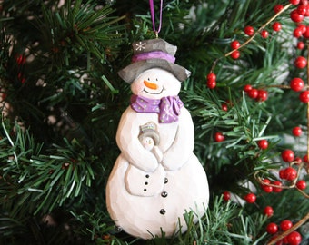Handcarved Snowman with Baby,Christmas ornament,wood carving,wood carved,hand wood carvings, carved Santas, Christmas decoration, gift, art