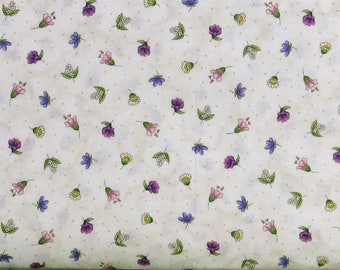 Flower Buds on Mottled White & Ivory Background 100% Cotton Quilt Fabric, Thyme with Friends by Kris Lammers for Maywood Studios, MAS8337-E