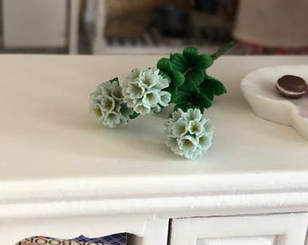 Miniature Rhododendron, 3 Stem Bunch With Leaves, Dollhouse Miniature, 1:12 Scale, Miniature Flowers, Miniature Home & Garden Decor,