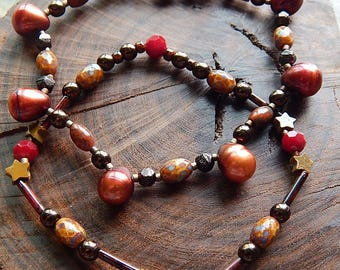 Stacking bracelets - bracelet set - Rust red pearl and carved stone star bracelets - stretch bracelet set - jewelry set - boho fall jewelry