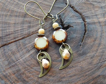 Cream colored czech glass earrings - little dangle earrings - cream and brown - picasso glass - neutral tone -  boho style - rustic jewelry