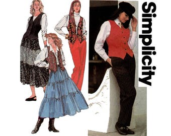 Simplicity 8548 Womens Pants Peasant Skirt & Vest 90s Vintage Sewing Pattern Size 12 14 16 Bust 34 36 38 inches UNCUT Factory Folded