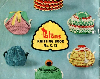 Patons C 12 Vintage 1960s Knitting & Crochet Book Tea Cozies Slippers Dolls Clothes Stuffed Toys 13 designs ORIGINALS NOT PDF