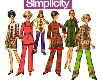 Simplicity 8385 Womens Mandarin Collar Mini Dress Tunic & Pants 60s Vintage Sewing Pattern Size 12 Bust 34 inches UNCUT Factory Folded