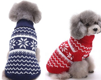 Christmas Snowflake Pet Dog Puppy Warm Knit Sweater Clothes Party Outwear Costume
