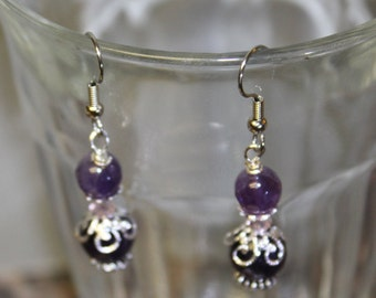 Amethyst Earrings Natural stone, beads silver hypoallergenic ear wires watercolorsNmore
