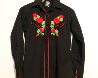 Black Floral Embroidered Western Button Down Shirt medium wt78615