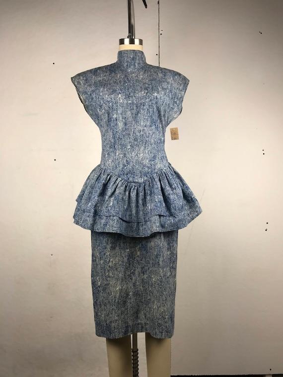 Acid Wash Peplum Dress