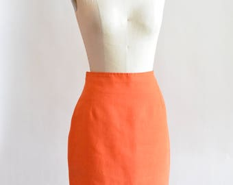 Vintage orange LINEN pencil skirt