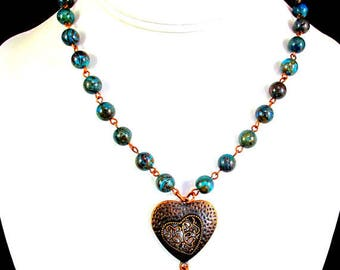 Beaded Necklace with Blue Sky Jasper and Antique Copper Heart, Gemstone Necklace, Copper Necklace, Statement Necklace, Southwest Jewelry