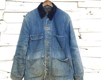 Vintage Distressed Chore Coat Light Blue Denim Wool Lined Jean Jacket Made in USA - Large