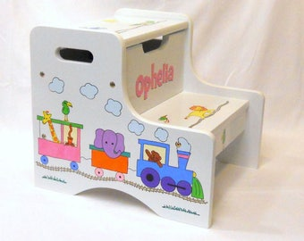 Large Personalized Two Step Stool with Animal Train