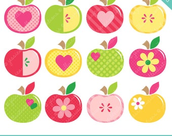 Apples Apples - Cute Digital Clipart - Commercial Use OK, Apple Clipart, Apple Graphics