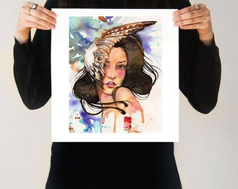 Eagle's Feather | Japanese Art Print Blue Wing Feather Bird Hawk Girl Beautiful Asian Female Woman Face Watercolor Colorful Art Print