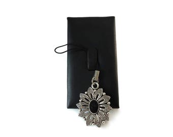 Black and Grey Flower Purse Charm, Ladies Black Enamel and Silver Metal Zipper Pull Charm, Flower Backpack Charm For Women