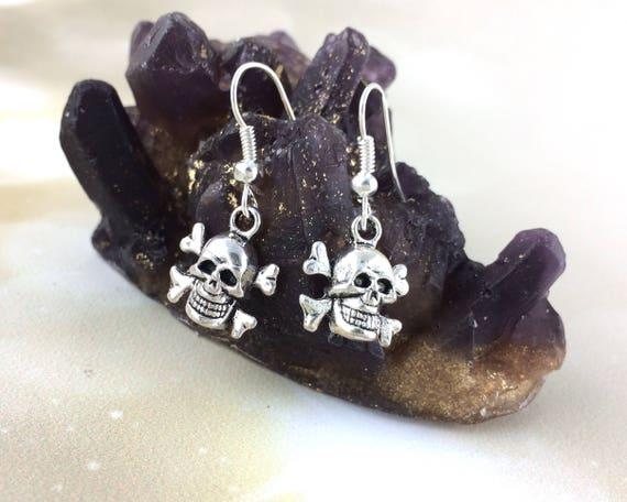 Sterling Silver Pirate Skull Earrings
