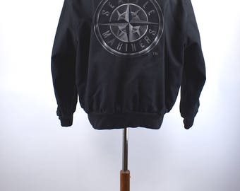 1990's Black Denim Seattle Mariners Jacket by J.H. Design Made in the USA