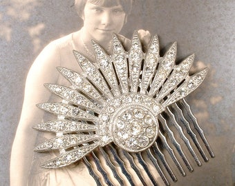 Edwardian/Art Deco TRUE Vintage 1920s Rhinestone Fan Bridal Hair Comb, Pave Crystal Heirloom Dress Clips Hairpiece, Great Gatsby Wedding