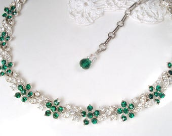 Art Deco Emerald Rhinestone Bridal Necklace, LISNER 1950s Silver Green Crystal Statement Necklace, Vintage Wedding Gatsby Flapper Jewelry