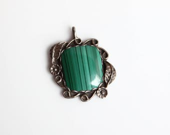 Vintage Green Malachite Stone & Silver Pendant ~ Native American Jewelry ~ Navajo