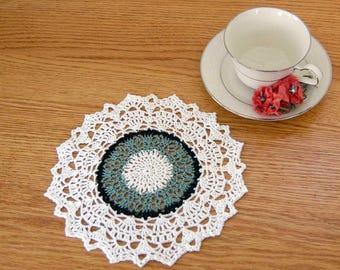 Decorative Crochet Lace Doily, Green, White, Spring Table Decor, 8 1/2 Inch Doily, Elegant Home Decor, So Chic