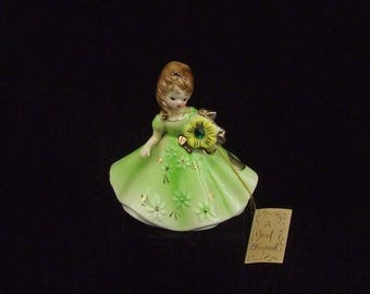 Vintage Josef Original Emerald May Birthday Lady Porcelain Figurine Hang Tag and Paper Label