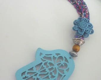 Moroccan  hamsa decorative wooden cut out  beaded charm Moroccan decor
