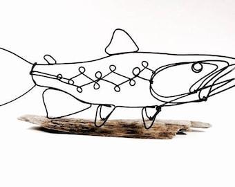Trout Wire Sculpture, Fish Wire Art, Minimal Wire Design, Wire Sculpture, 526186312