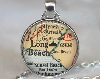 CSULB necklace, California State University at Long Beach map necklace CSULB pendant graduation gift for graduate college key chain key ring