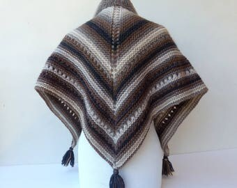 Brown Hand Knit Shawl Triangle Brown Knit Scarf Wrap