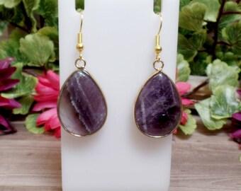 Amethyst Teardrop Earrings - Gemstone Earrings - Goldtone - Purple earrings - Amethyst Slab