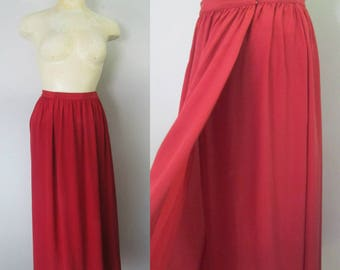 Aurora Red Silk Wrap Skirt 1970s Vogue Chic Fashion Made in Italy