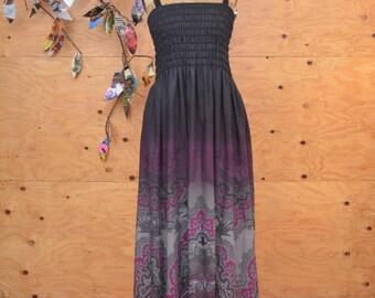 Black & Purple Summer Maxi Day Dress Boho Floral Pattern Smocked Bodice Straps SZ M/L