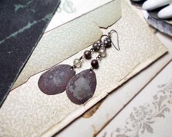 Rustic Assemblage Earrings - Super Rustic Tin Drops under Vintage Bead Charms - Hammered Dark Metal, Rhinestones, Trifari Rounds - Grey