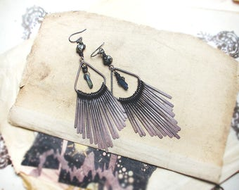 Rustic Chandelier Earrings | Metal Glam | Ombre Ox Fringe Paddles | Pyrite Nuggets on Steel | Blue Iridescent Tiny Crystal Quarts Points