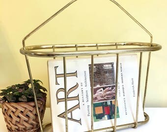 Vintage Brass Magazine Basket, Book Basket, Rack, Brass Basket, Office Decor, Hollywood Regency