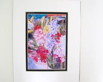 """Small Print Of Silk Painting  """"Farm Stand"""" Cropped Version For 8x10 Frame Opening, Comes With Mat"""