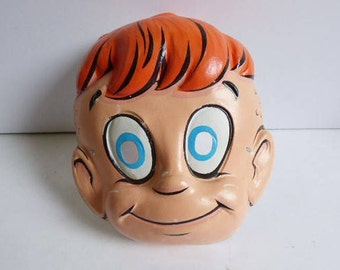 Vintage Halloween Mask Cartoon Red haired Boy 1960's costume face mask redhead
