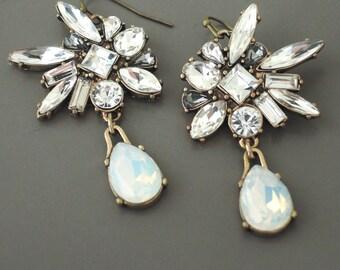 Art Deco Earrings - Vintage Inspired Earrings - Crystal Earrings - Bridal Earrings - Antiqued Gold Earrings - Opal Earrings - handmade
