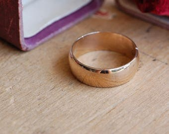 Antique 1900s mens 14K wide wedding band ・Victorian mens gold engraved wedding band