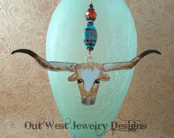 Hand Painted Texas Longhorn Ornament - Hand Torched Lampwork Bead and Crystal