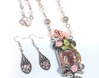 Long Assemblage Soldered Pendant Necklace set, Silver and Pink, Vintage Girl, czech beads