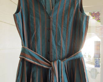 Vintage Style Sundress 50s Style Summer Dress Green Brown Stripe Cotton Sleeveless Button Front Small Size 4 BCBG Max Azria